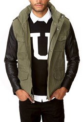 Forever 21 Faux Leather Sleeve Parka
