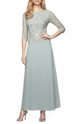 Women's Alex Evenings Sequin Lace And Chiffon Gown