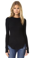 Lna Sloane Rib Long Sleeve Tee Black