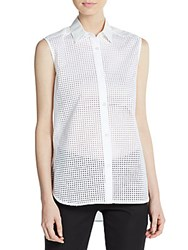 Tess Giberson Perforated Cotton Blend Blouse White