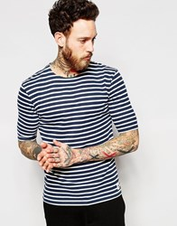Wood Wood T Shirt With Breton Stripe In Navy Navy