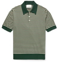 Gucci Slim Fit Striped Cotton And Cashmere Blend Polo Shirt Green