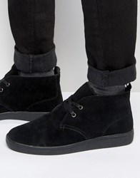 Bellfield Borg Lined Chukka Boot In Black Suede Black