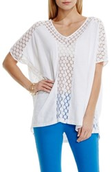 Women's Two By Vince Camuto Dot Mesh Inset V Neck Top
