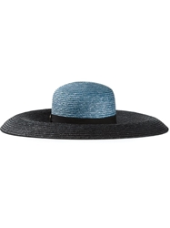 Emilio Pucci Two Tone Wide Brimmed Sky Hat Blue