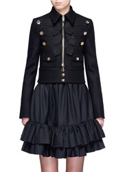 Givenchy Decorative Button Ribbon Trim Felted Military Jacket Black