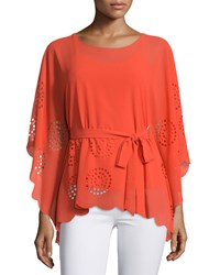 A.Z.I. Laser Cut Belted Tunic Tangerine