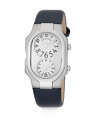Philip Stein Teslar Signature Dual Time Stainless Steel And Pebbled Leather Strap Watch