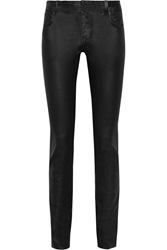 Valentino Waxed Mid Rise Skinny Jeans Black