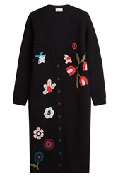 Red Valentino Virgin Wool Cardigan With Crochet Motifs Multicolor