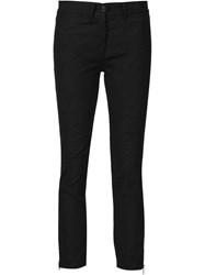 Ann Demeulemeester Textured Cropped Trousers Black