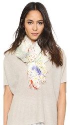 Franco Ferrari Bird In Suit Splatter Paint Scarf White Multi