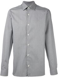 Z Zegna Woven Button Down Shirt Grey