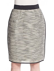 Karolina Zmarlack Contrast Trim Knit Pencil Skirt Beige Black