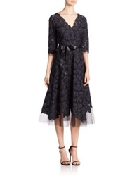Teri Jon By Rickie Freeman Flared Lace Dress Navy