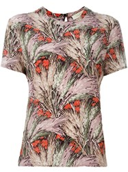 Valentino Floral Print T Shirt Pink And Purple