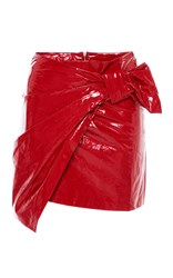Isabel Marant Red Anders Mini Asymmetric Wrap Over Skirt