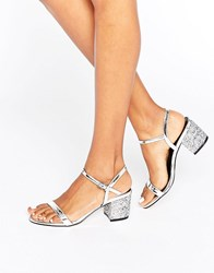 Asos Honeycomb Heeled Sandals Silver Glitter