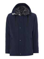 Bugatti Men's Parka With Faux Fur Hood Blue