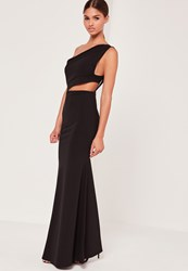 Missguided One Shoulder Cut Out Waist Maxi Dress Black Black