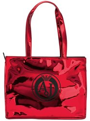 Armani Jeans Metallic Medium Shoulder Bag Red
