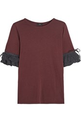 Clu Washed Silk Trimmed Cotton And Modal Blend Jersey Top Claret