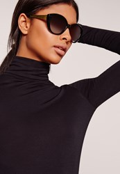 Missguided Gold Arm Cat Eye Sunglasses Black Black
