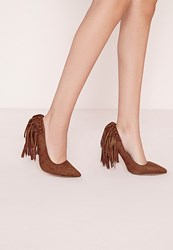 Missguided Tassel Back Court Shoes Tan