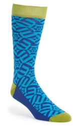 Men's Ted Baker London 'Geo Design' Socks Blue Navy