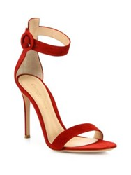 Gianvito Rossi Portofino Suede Ankle Strap Sandals Dark Red Black Suede