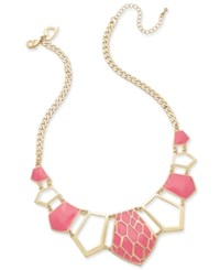 Thalia Sodi Gold Tone Pink Enamel Geometric Statement Necklace Only At Macy's Coral