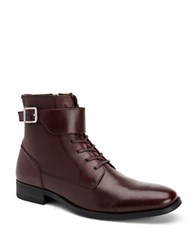 Calvin Klein Stokely Calf Leather Boots Oxblood