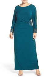 Xscape Evenings Plus Size Women's Embellished Stretch Jersey Long Dress Neon Emerald