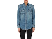 Saint Laurent Women's Denim Western Style Shirt Blue