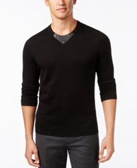 Inc International Concepts Men's Faux Leather Trim Sweater Only At Macy's Deep Black