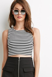 Forever 21 Striped Zipper Back Crop Top White Black