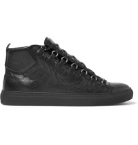 Balenciaga Arena Creased Leather High Top Sneakers Black