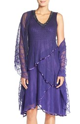 Petite Women's Komarov Tiered Chiffon Shift Dress And Shawl