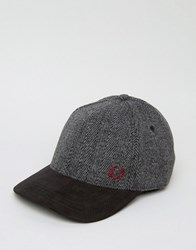 Fred Perry Herringbone Wool Baseball Cap Grey