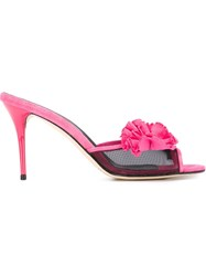Oscar De La Renta Flower Applique Sandals Pink And Purple
