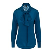 Sophie Cameron Davies Teal Silk Bow Blouse Green