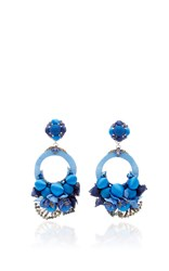 Ranjana Khan Blue Large Floral Drop Earrings