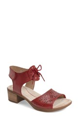 Women's Dansko 'Liz' Lace Up Block Heel Sandal Red Antiqued Leather