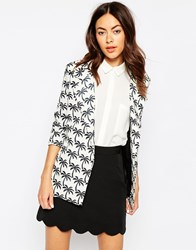 Sister Jane Tropical Palm Blazer White