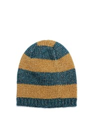 Gucci Knitted Metallic Striped Beanie Hat Gold Multi
