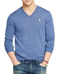 Polo Ralph Lauren Slim Fit Merino V Neck Sweater Faded Royal Heather