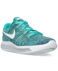 Nike Men's Lunarepic Lt Flyknit Running Sneakers From Finish Line Clear Jade White Ocean Fo