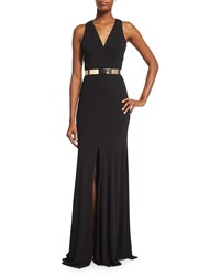 David Meister Sleeveless Jersey Column Gown Black
