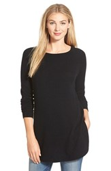 Petite Women's Halogen Shirttail Wool And Cashmere Boatneck Tunic Black