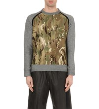 Christopher Raeburn Camouflage Print Cotton Sweatshirt Grey Green